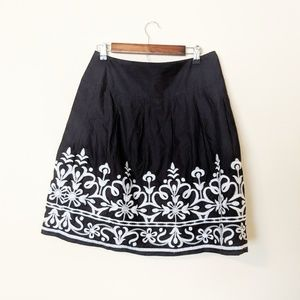INC Black and White Embroidered Circle Skirt